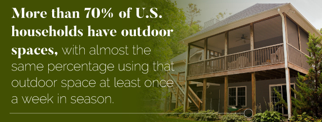 More than 70% of U.S. households have outdoor spaces