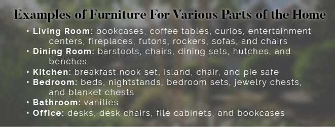 Examples of furniture for various parts of the home.