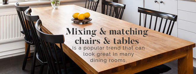 mix and match chairs and table