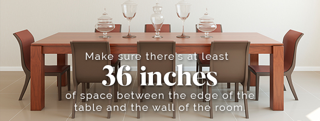 36 inches around dining room table
