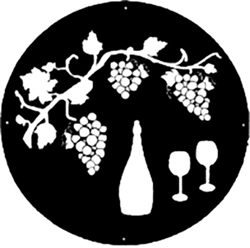 Grape Vine and Wine Bottle Logo