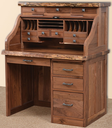 Up To 33 Off Mission Roll Top Desk W Live Edge Amish