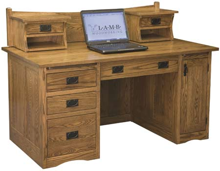 Up to 33 off l a mission computer desk with hutch top amish outlet store - Mission style computer desk with hutch ...