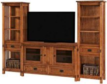 Mission Style TV Stands With Bookcases and Shelves