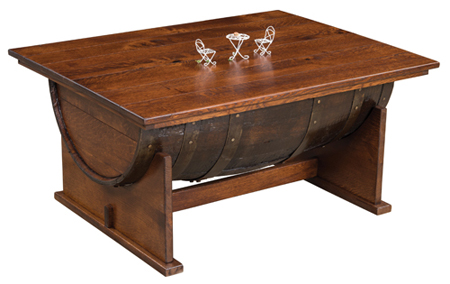 up to 33 off rustic barrel coffee table w lift top amish furniture. Black Bedroom Furniture Sets. Home Design Ideas