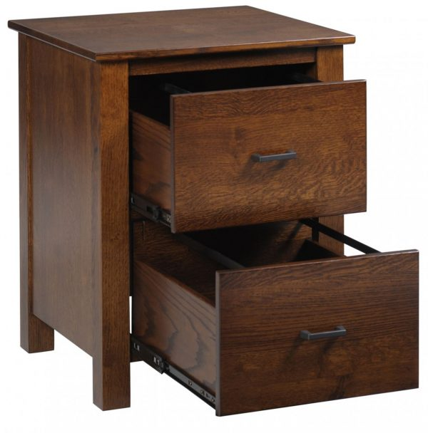 Wooden Nightstand With Two Drawers