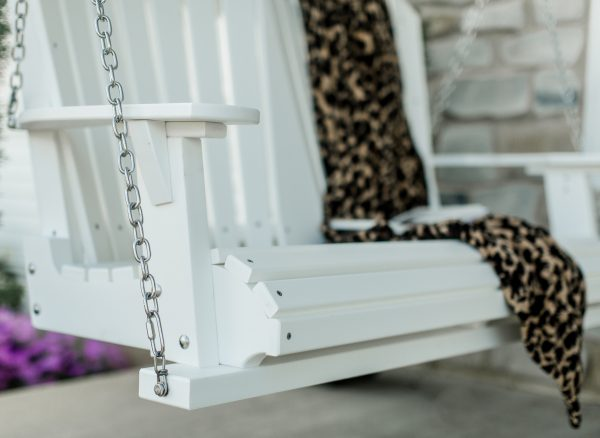 White Wooden Porch Swing