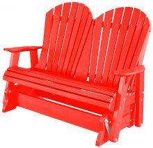 Red Wooden Rocking Bench