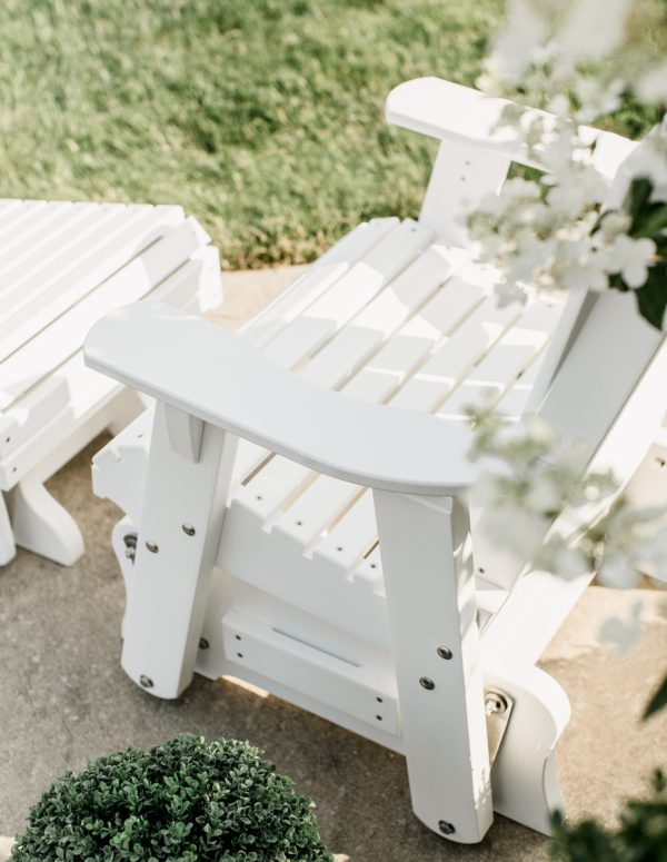 White Wooden Rocking Chair with White Wooden Footrest