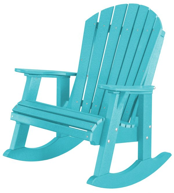 Teal Wooden Outdoor Rocking Chair