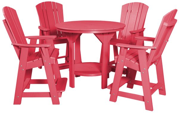 Red Wooden Outdoor Table and Chair Set