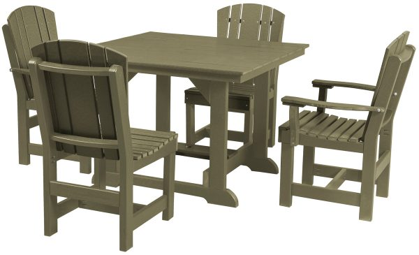Brown Wooden Outdoor Table and Chair Set