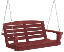 Red Hanging Wooden Porch Swing