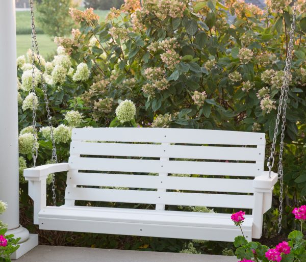 White Hanging Wooden Porch Swing