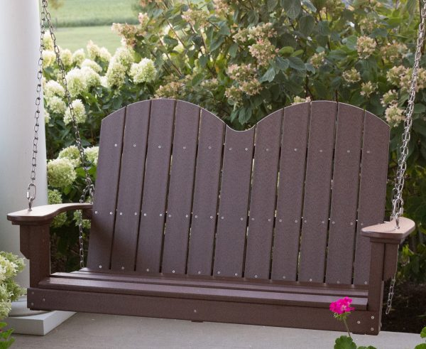 Brown Hanging Wooden Porch Swing