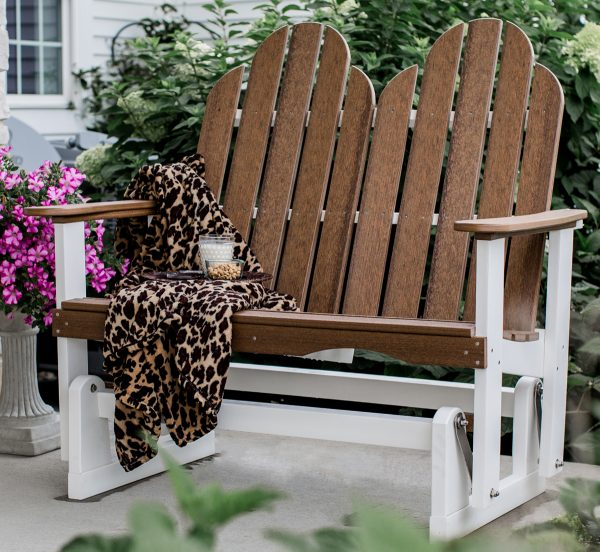 Brown and White Two Person Wooden Rocking Chair