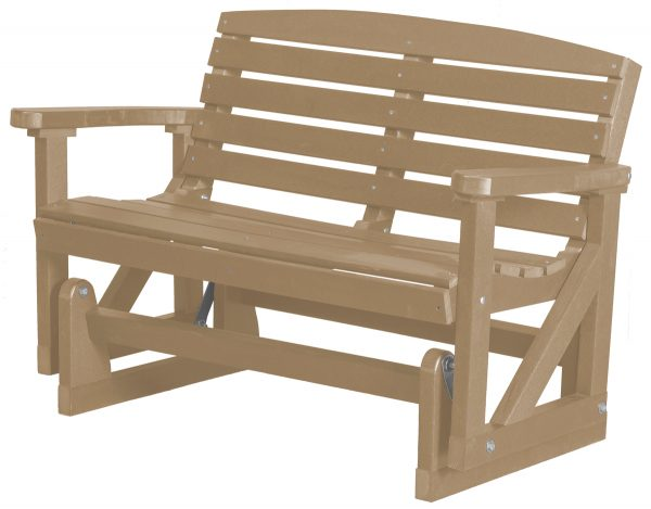 Tan Two Person Wooden Rocking Bench