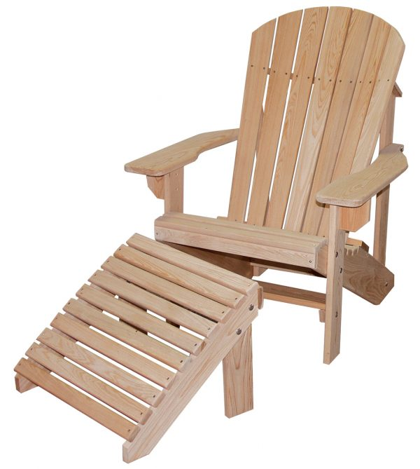 Wooden Beach Chair with Wooden Footrest