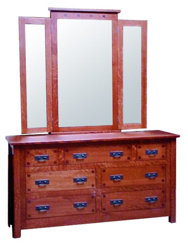 Mission Square Dresser With Mirror