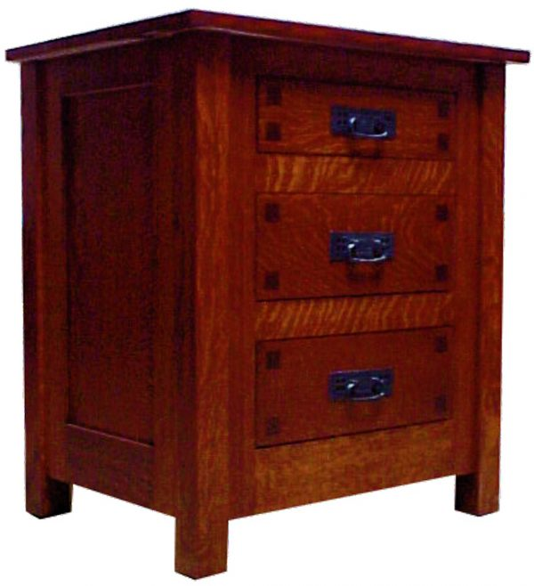 Mission Square 3 Drawer Nightstand