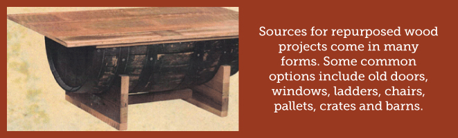 sources for repurposed wood projects come in many forms