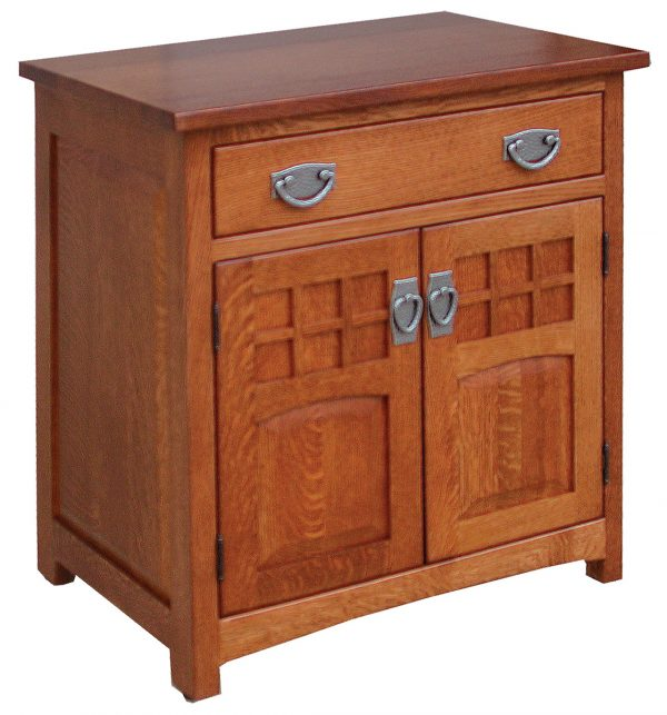 Wood Nightstand With Metal Accents