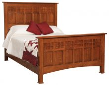 Wooden Bed With Tall Headboard