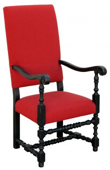 Early American Black Wood Chair With Red Upholstery