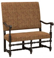 Early American Wood Bench With Brown Patterned Upholstery
