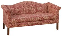 Low Conversational Sofa With Patterned Cream And Red Fabric