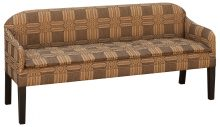 Upholstered Couch With Brown Patterned Fabric