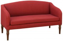 Red Upholstered Couch With Spindle Legs