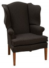 Upholstered Arm Chair With Black And White Patterned Fabric