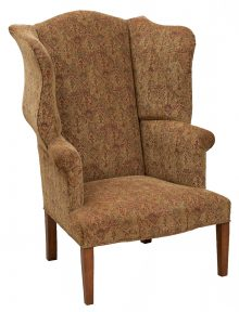 Upholstered Arm Chair With Beige Tone Patterned Fabric