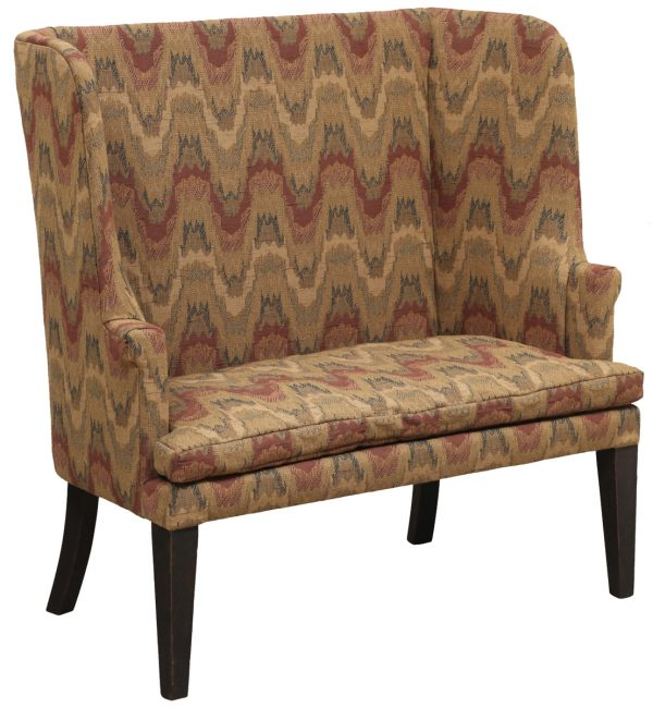Tall Backed Upholstered Bench With Pattern Fabric