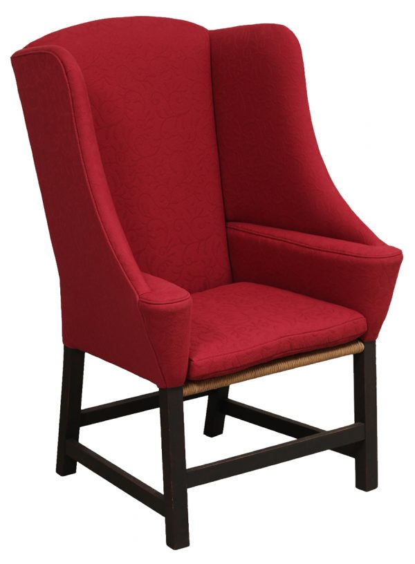 Red Upholstered Chair With Wood Legs