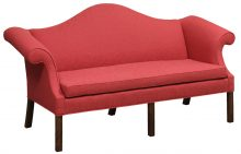 Coral Upholstered Sofa With Wood Legs