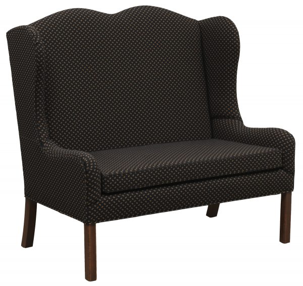 Black Patterned Upholstered Bench With Tall Back