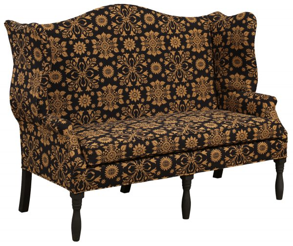 Black and Gold Patterned Upholstered Bench With Tall Back