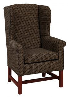 Dark Upholstered Arm Chair With Cherry Legs