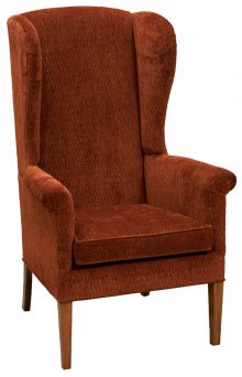 Rust Colored Upholstered Chair With Wood Legs