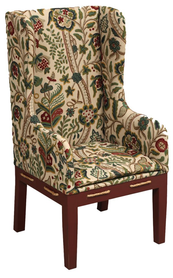 Upholstered Patterned Chair With Rope Accents