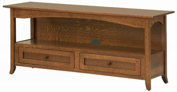 Open Wood TV Stand With Exposed Storage