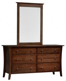 Wooden vanity with tall mirror