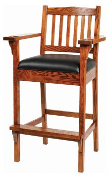 tall wooden bar char with black leather