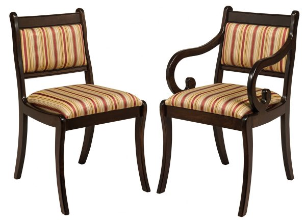 dark wooden chairs with striped upholstery