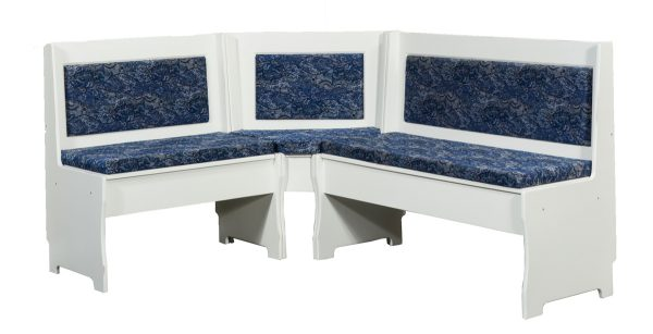 white corner bench seating with blue upholstery
