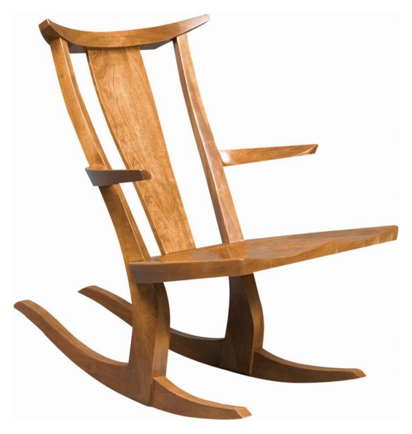 curved solid wooden rocking chair