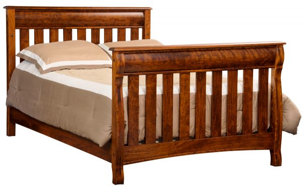 wooden bedframe with rails
