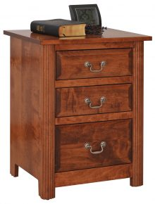 wooden nightstand with larger and smaller drawers